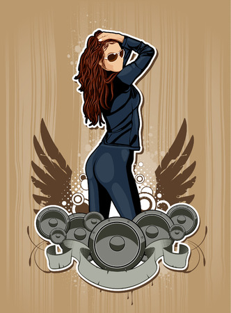 Thin sexy girl with speakers on grunge background. Abstract vector illustration. Vector