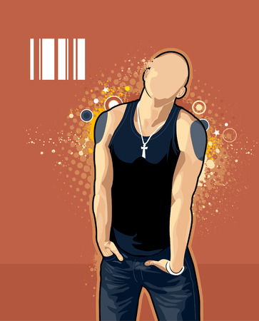 Vector illustration of brawny bald man on abstract graffiti background. Vector