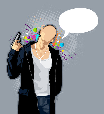 bald man: Vector illustration of brawny bald man with pistol on abstract graffiti background. Illustration