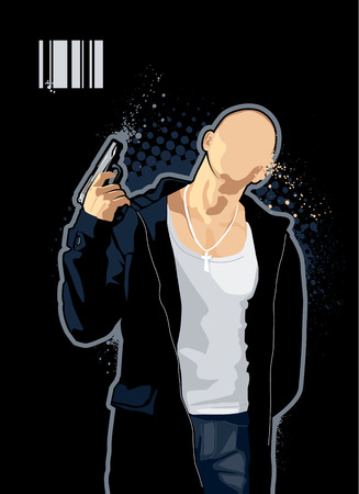 brawny: Vector illustration of brawny bald man with pistol on black background.