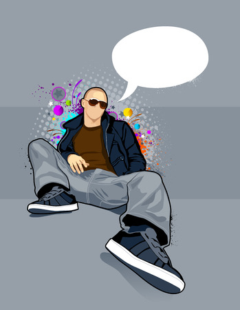 commentary: Vector illustration of bald man on abstract graffiti background.