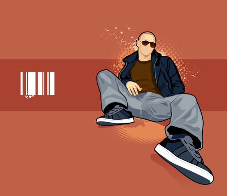 kel: Vector illustration of bald man on abstract background. Çizim