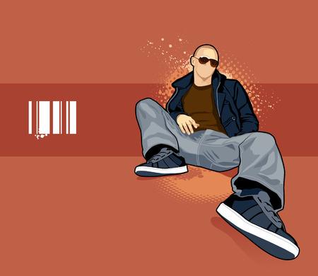 Vector illustration of bald man on abstract background. Illustration