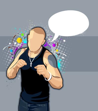 modern fighter: Illustrazione vettoriale di uomo calvo sullo sfondo luminoso graffiti. Vettoriali
