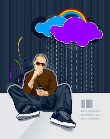 Vector illustration of bald man on bright graffiti background. Vector
