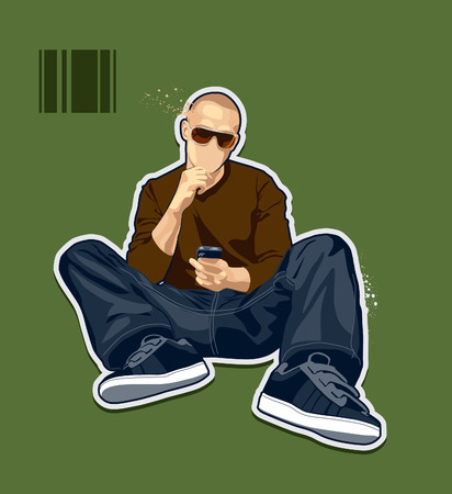 brawny: Abstract bald man. Vector illustration. Illustration
