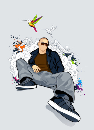 Bald man on abstract vector background.  Illustration