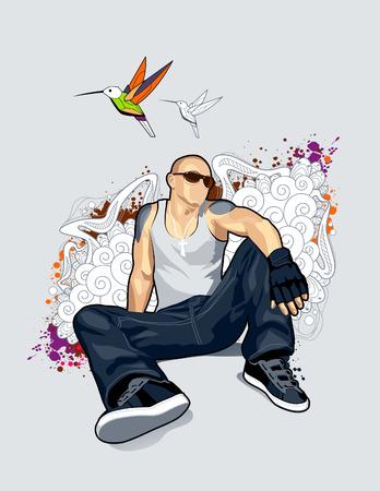 brawny: Bald man on abstract vector background.  Illustration