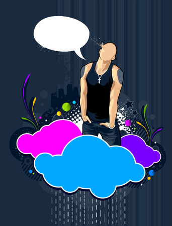 Bald man on abstract vector background with graffiti elements.  Vector