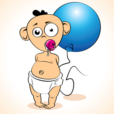 Funny child with balloon on white background   Vector