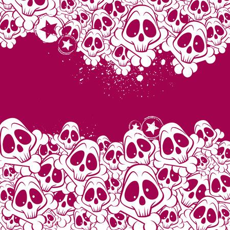 emo: Vector achtergrond gevuld met schedels. Er is een plaats voor uw tekst.