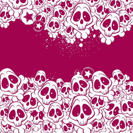 Vector background filled with skulls. There is a place for your text. Vector