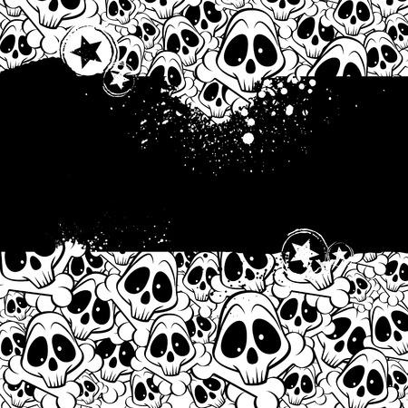 emo: Vector achtergrond gevuld met skulls. Er is een plaats voor uw tekst. Stock Illustratie