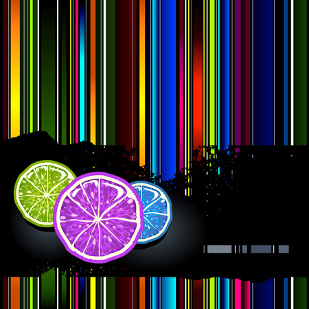 Vector background filled with vertical strips. There are some lemons on black damaged horizontal strip.   Vector