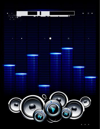 speaker system: Cool fondo futurista con altavoces brillantes