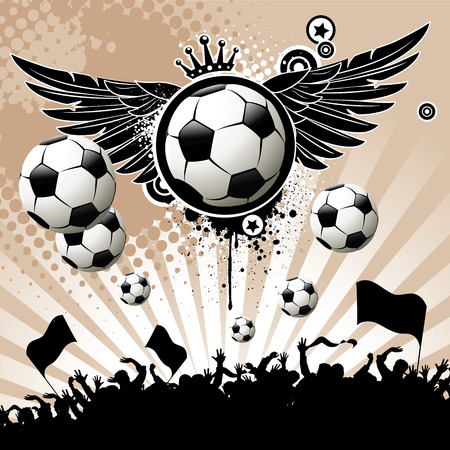 hand fan: Football background  with the balls, wings and stars