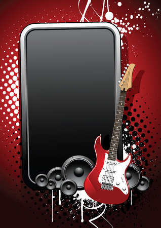 decibel: Beautiful realistic guitar, glossy banner on a grunge background