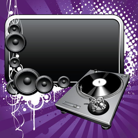 disc jockey: Turntable and glossy banner on a grunge background