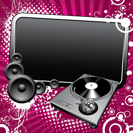 Turntable and glossy banner on a grunge background Vector