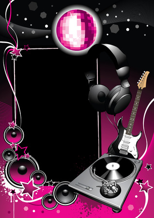 hiphop: Turntable and glossy banner on a grunge background