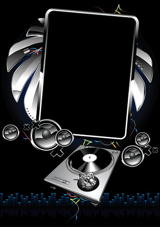 dj turntable: Futuristic musical banner