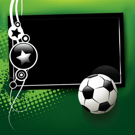 kicking ball: Football banner with the ball and the TV on a green background