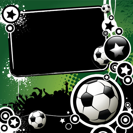 football fan: Football banner with the balls and stars on a green background