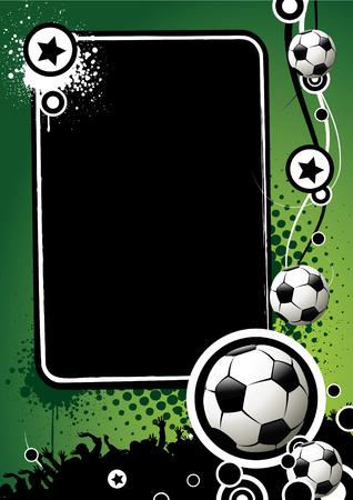 Banner de fútbol con las bolas y estrellas sobre un fondo verde Ilustración de vector