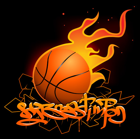 nba: Basketball graffiti image Illustration