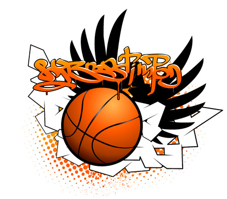 Basketball graffiti image Illustration