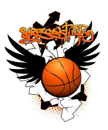 Basketball graffiti image Vector