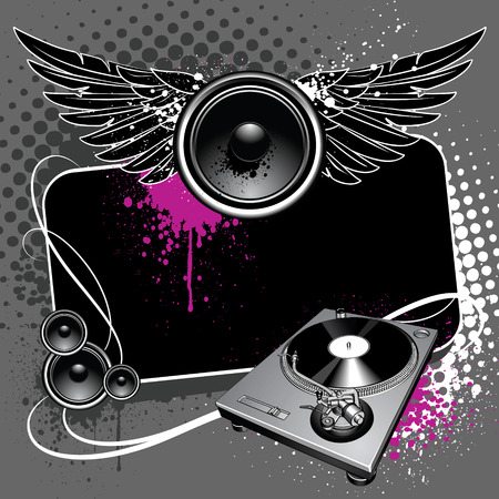 Speaker with wings and turntable on modern grunge background Stock Vector - 6131501
