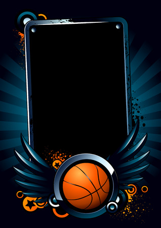 nba: Basketball banner on modern background