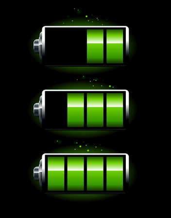polarity: Set of batteries on black background Illustration