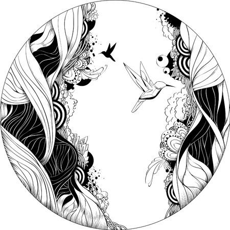 Ilustración vectorial bizarro. Esbozo de tinta de blanco y negro.