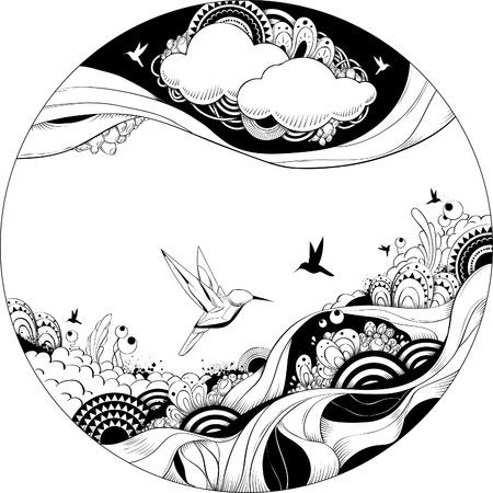 Ilustración vectorial extraño. Esbozo de tinta de blanco y negro. Ilustración de vector