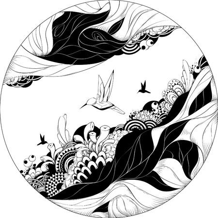 Ilustración vectorial bizarro. Esbozo de tinta de blanco y negro.  Ilustración de vector