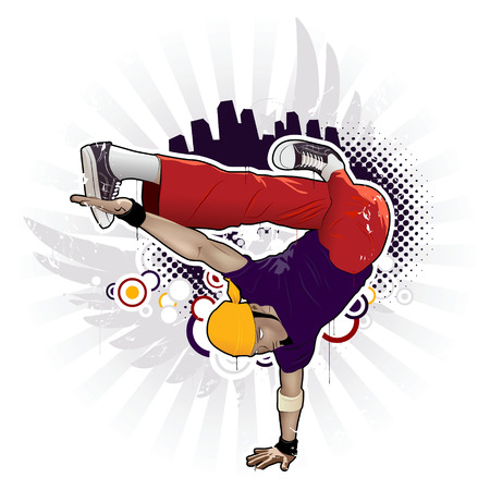 attributes: Cool image with breakdancer and street style attributes Illustration