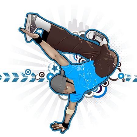 Cool image with breakdancer and street style attributes Vector