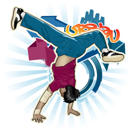 acrobatic: Cool image with breakdancer and street style attributes Illustration