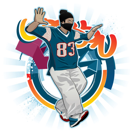 the attributes: Cool image with breakdancer and street style attributes Illustration