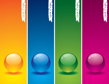 Set of glass buttons on coloured  backgrounds Vector