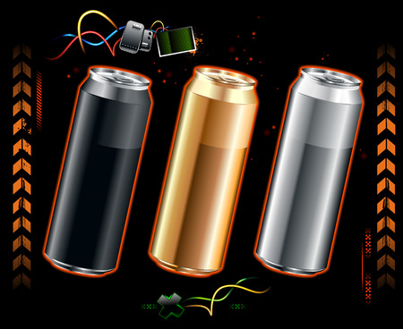 Set of realistic cans somewheare in space Vector