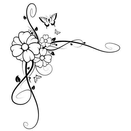 Image abstraite, il existe des fleurs, de papillons et de branches