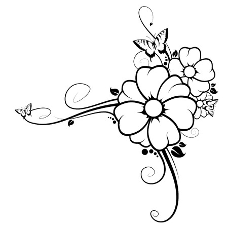 Immagine astratta, ci sono fiori, farfalle e rami