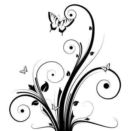 there: Abstract image, there are flowers, butterflies and branches
