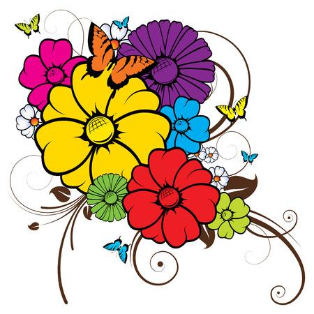 Image abstraite, il existe des fleurs, des papillons et des branches