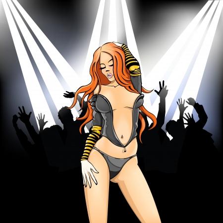 A beautiful sexual girl dances in a nightclub