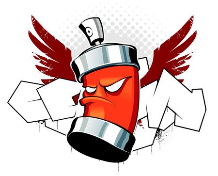 lata: Cool puede con alas sobre fondo de graffiti