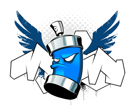 graffiti background: Cool can with wings on graffiti background Illustration